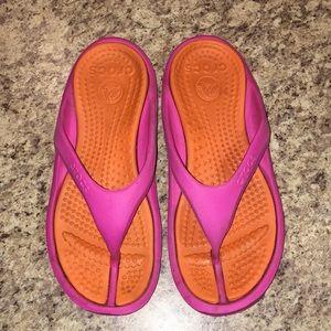 Pink and Orange Flip Flop CROCS women's sz 10